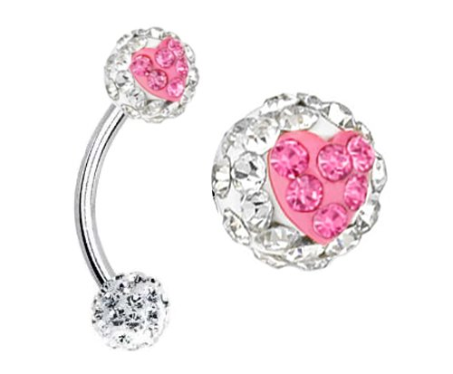 - Clear cz & Pink ferido Heart Sparkling Swarovski Crystal Eyebrow Curved barbell Eye Brow Ring body jewelry piercings bar- 16g