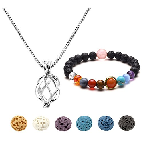 Top Plaza Lava Rock Stones Elastic Bracelet Aromatherapy Essential Oil Diffuser Necklace Silver Locket Pendant With 6 Dyed Lava Beads Set(Waterdrop+Braid) (Bracelet Braid Silver)