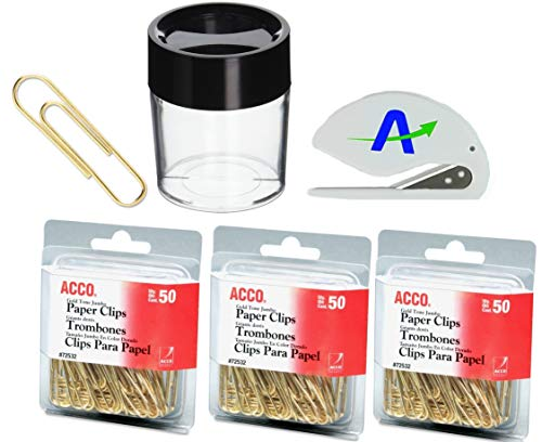 ACCO Brands Value Pack of 150 Gold Tone Jumbo Paper Clips, Smooth Finish, Steel Wire, 20 Sheet Capacity, 3 Boxes, 50 Clips per Box (A7072532) Plus Magnetic Clip Dispenser and Bonus Letter Opener