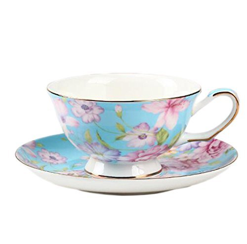 ufengke European Bone China Coffee Cup, Afternoon Tea Coffee Cup with Saucer, Ceramic Tea Sets for Gift, Hand-Painted Flower, Blue