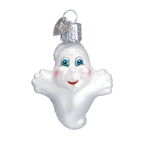 Old World Christmas Glass Blown Ornament with S-Hook and Gift Box, Halloween Collection (Miniature Ghost)]()