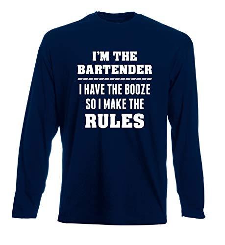 Booze Uomo The Beer0230 Have Bartender Am Lunga Make T Rules shirt Manica Navy I Blu So qUBt7z