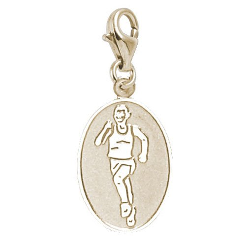 Rembrandt Charms Female Marathon Runner Charm with Lobster Clasp, 14k Yellow Gold (Gold 14k Runner Charm)