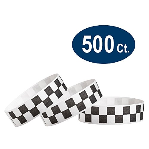 "WristCo WristCo Black Checkered/Checks 3/4"" Tyvek Wristbands - 500 Pack Paper Wristbands for Events price tips cheap"
