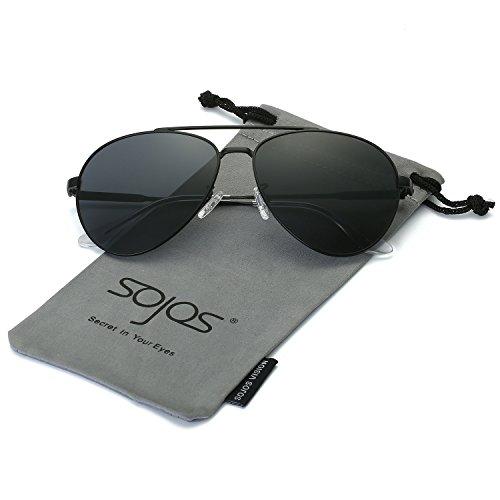 SojoS Oversized Mirror Aviator Sunglasses, Polarized, 100% UV Protection SJ1060 With Black Frame/Grey (Cheap Coloured Contact Lenses)