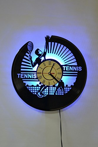 NICE STUFF ONLY Tennis Design Wall Light Clock - Original Home Interior Décor - Wall Clock - Perfect Gift for Him and Her (Blue) ()