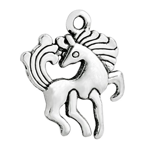 (20 Pieces Unicorn Horse Magical Lucky Charm Reversible Findings Jewelry Pendant Necklace Making 19 X 15mm)