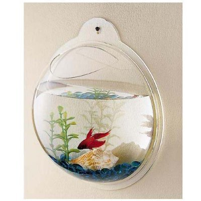 CNZ Wall Mounted Acrylic Fish Bowl, - Light Beta Wall