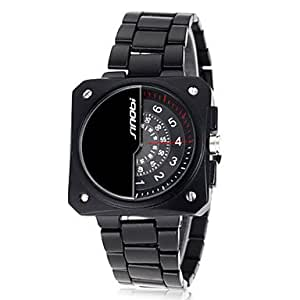 ZA Men's Rotary Dial Black Steel Band Quartz Wrist Watch(Delivery color random)