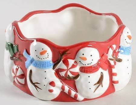 Sonoma Peppermint Lane Figural Dip Bowl and Snowman Spreader