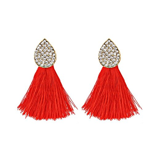 Earrings Fashion New Style Latest (Beuu 2018 New Tasseled Diamond Earrings Spherical Style Rhinestones Tassel Dangle Stud Fashion Jewelry Jewelry Earring Women'S Fashion (Red))