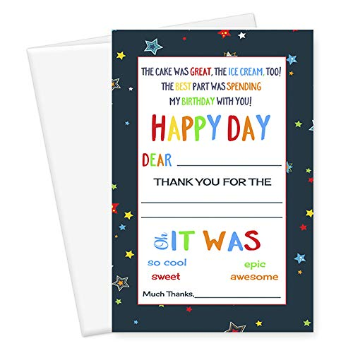 Birthday Thank You Card Kids Stationery (Set of 15) Colorful Starry Party - You Thank Epic Card