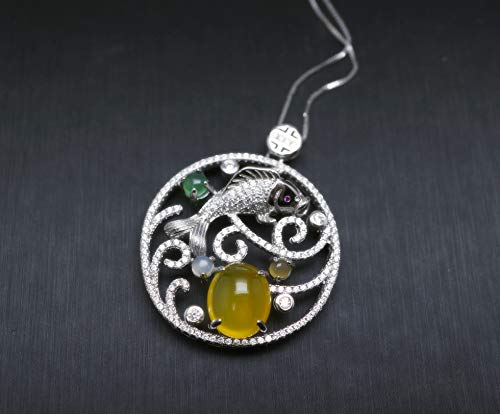 Yellow Carnelian Necklace - 925 Sterling Silver Yellow Onyx Fish Necklace - Large Round Ring Circle Pendant - Orange Agate ()