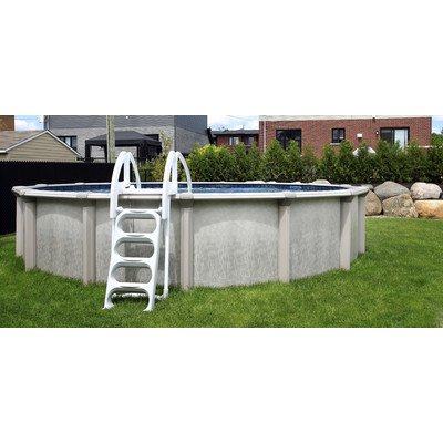 QCA Spas 217PD2452 Parthenon Deluxe 24-Feet Round and 52-Inch Above Ground Pool with Blue Overlap Liner by QCA Spas