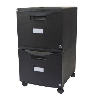 Beau 2 Drawer Locking File Cabinet Mobile Legal Size Filing Black