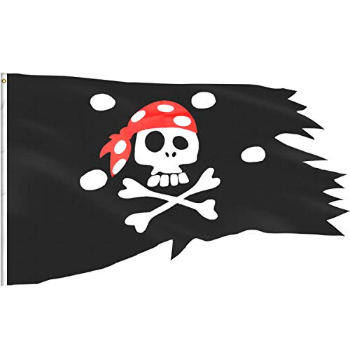 eZAKKA Pirate Flag Red Hat Pirate Skull and Crossbones Flags Irregular Shape Polyester Boat Bike Car Bar Decor Outdoor/Indoor Flags for Pirate Party Halloween Decoration Birthday Festival, 2.54x4ft -