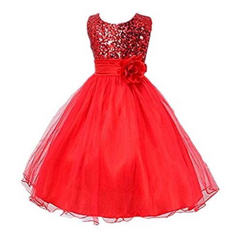DreamHigh Sequined Flower Girls Party Dress (6, Red) for $<!--$19.98-->