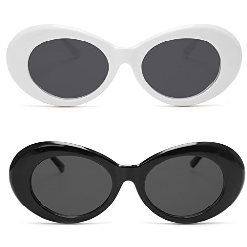 Clout Goggles 2 Pack, FYJOY Bold Retro Oval Mod Thick Frame Sunglasses Round Lens (White & Black) for $<!--$3.99-->