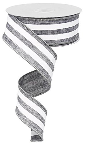 Grey & White Vertical Stripe Wired Edge Ribbon - 10 yards (1.5