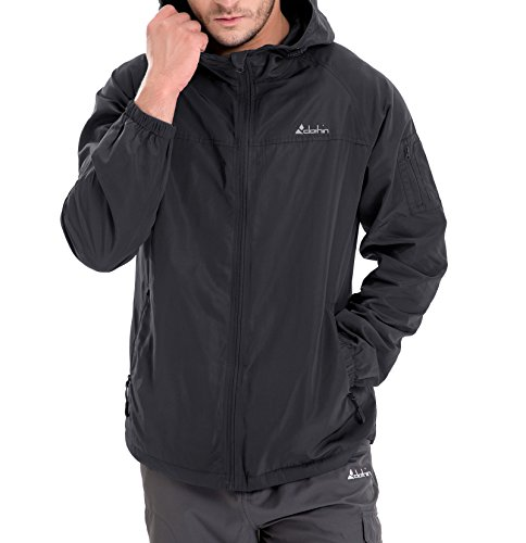 - Clothin Men's 6-Pocket Hooded Zip-Up Windbreaker Travel Jacket, Water and Wind-Resistant Black