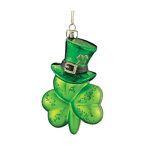 Kurt Adler Noble Gems Green Irish Shamrock Wearing Hat Glass Christmas Ornament Decoration ()