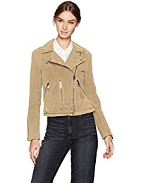 Women's Suede Belted Biker Jacket