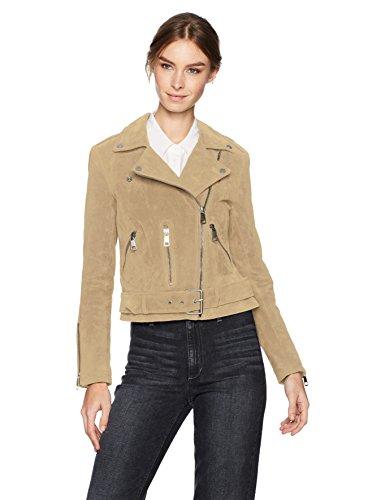 Bagatelle Women's Suede Belted Biker Jacket, Sandstone Small