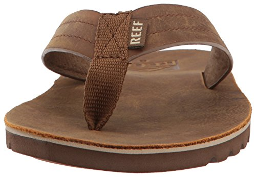 Men Soft Brown Waterproof Flip with for Cushion Voyage Le Footbed Reef Leather Flops Premium Sandal Bronze Mens Real AqZv1