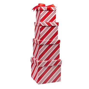 Christmas Present Box (4 Boxes Candy Cane Christmas Nesting Boxes with Lids in 4 Assorted Sizes for Holiday Decorative)