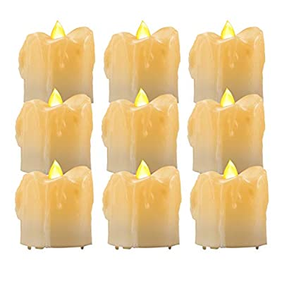 Beichi 9 Pack Flameless LED Tea Lights with Timer, Battery Operated Votive Tealight Candles in Amber Yellow Flickering Light