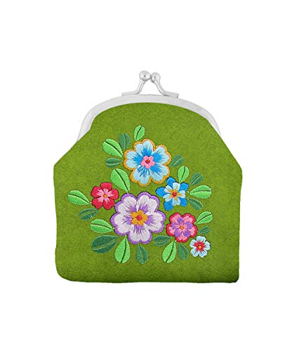 27ccd40d7c83 LAVISHY Embroidered Flower & Butterfly Vegan/Faux Leather Kiss Lock Frame  Coin Purse