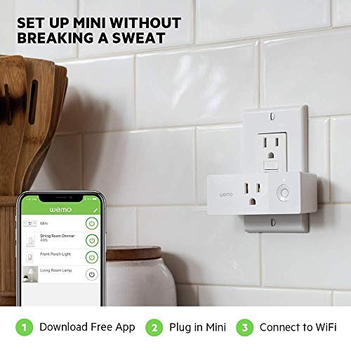 Wemo Mini Smart Plug, Wi-Fi Enabled, Compatible with Alexa (F7C063-RM2) (6 pack)(Certified Refurbished) by WeMo (Image #3)