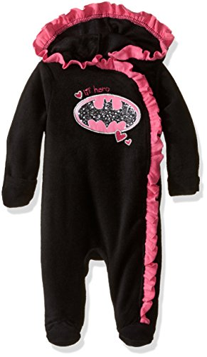 [Warner Brothers Baby Girls' BatBaby Girl Outwear Pram, Black, 6-9 Months] (Baby Batgirl Outfit)