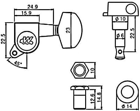 3-a-side Flat-sided for Epiphone Les Paul Wilkinson Tuners//Machine Heads Black WJ01 EZ-LOK Post PRS SG ES Schecter Ibanez EZ-LOK Post, Black Acoustic