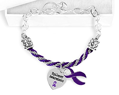 Epilepsy Purple Ribbon Partial Rope Bracelet in a Gift Box (1 Bracelet - -