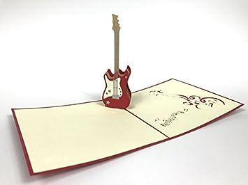Guitarra 3d Pop Up Tarjetas de felicitación aniversario cumpleaños ...