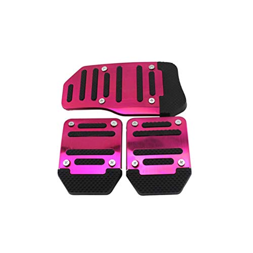 H HILABEE Universal Silver Non-Slip Foot Pedals Pad Cover 3pcs Set Manual Car Racing