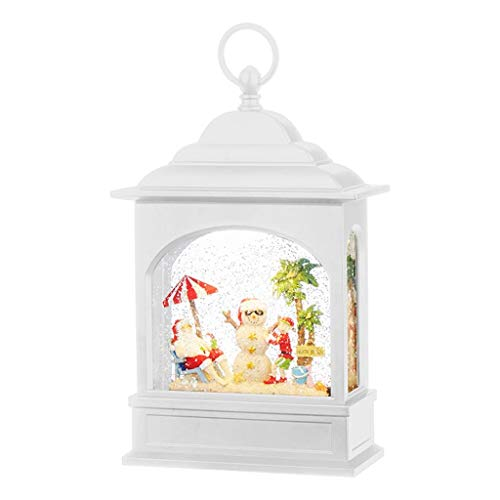 "RAZ Imports 08647-11"" Battery Operated White Glitter Santa on Vacation Lighted Musical Lantern with Timer (Batteries not Included) (11"" SANTA ON VACATION LIGHTED WATER LANTERN 3940518) from RAZ Imports"