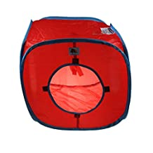 Emours Flexible Pop Out Kitty Play Cube Expandable Play Tunnel Best Cat Toys,Red