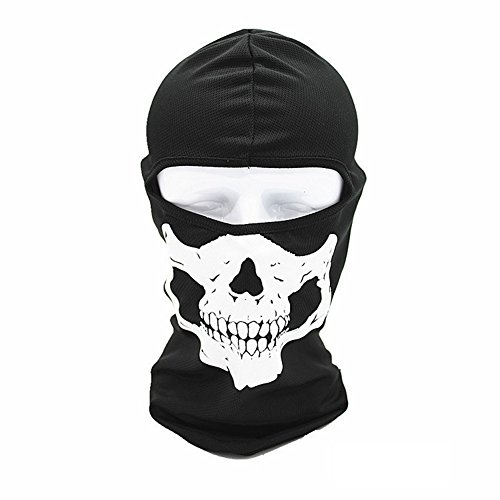 Angogo Candy Color Ultra Thin Ski Face Mask Under A Bike / CS Headgear (Human skeleton Black)