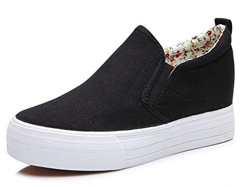 Adult Women's Pull On Hidden Heel Wedge Casual Canvas Shoes Fashion Sneakers (8, Black)