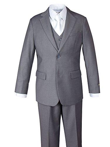 Spring Notion Big Boys' 3 Piece Two-Button Suit Set Jacket Vest and Pants 4T Grey - 3 Button Business Suit