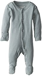 L\'ovedbaby Unisex-Baby Organic Cotton Footed Overall, Seafoam, 0/3 Months