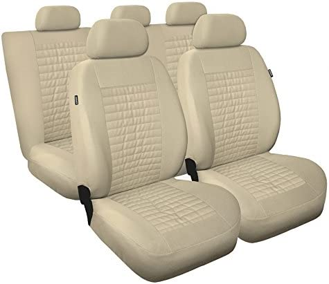 Universal Beige Polyester Kunsleder Sitzbezüge Komplettset Sitzbezug Für Auto Sitzschoner Set Schonbezüge Autositz Autositzbezüge Sitzauflagen Sitzschutz Modern Auto