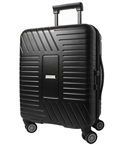 "EXZACT Cabin Luggage/Carry-On 20"" Black, Hard Shell/Side / 4 Wheels 360° Spinner TSA Lock, 100% PolyCarbon Travel Premium"