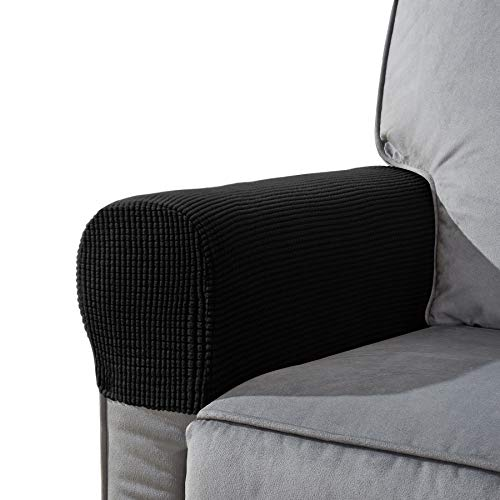 CHUN YI Set of 2 Stretch Polyester Sofa Armchair Armrest Covers Slipcovers Furniture Protector Spandex Fabric Jacquard Anti-Stain Washable Couch Arm Cover Slipcover (Armrest, Black)