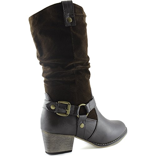 Strap Slouch Cowboy Women's Western Style Brown SV Ankle Mid Buckle 01 Calf Boots DailyShoes X5nTn