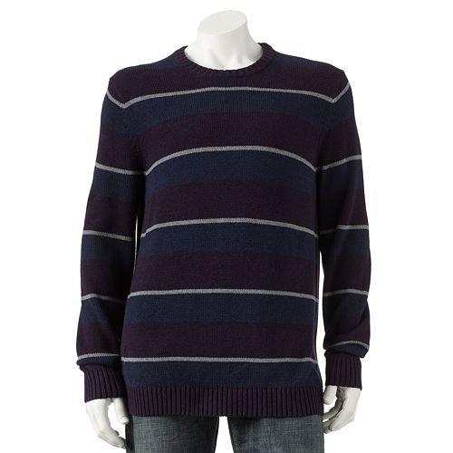Croft & Barrow Mens Rugby-Striped Heavyweight Crewneck Sweater, Purple Navy, Medium
