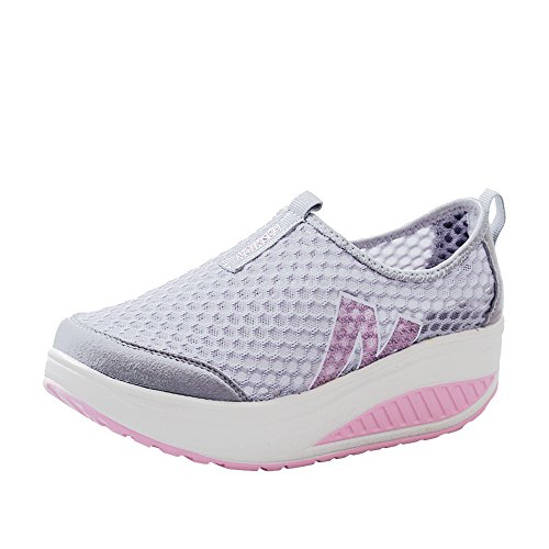 Sole Rubber Stitch (Kauneus Women Sneakers Comfort Slip On Wedges Shoes Breathable Mesh Walking Shoes Gray)