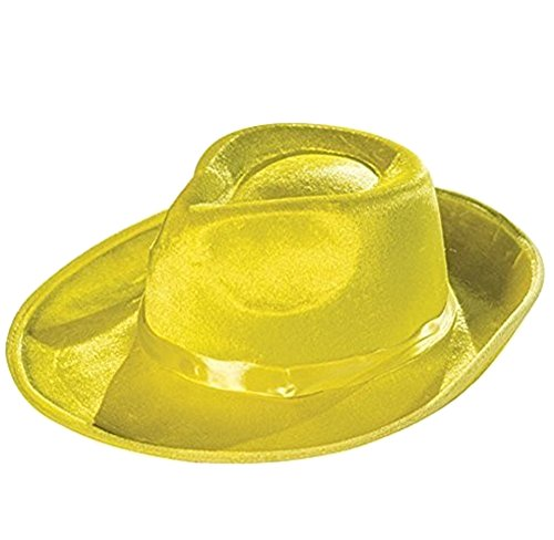 MyPartyShirt Deluxe Yellow Fedora Hat with Yellow (Dick Tracy Fancy Dress)